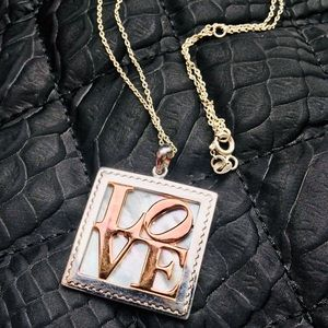 18k rose Gold LOVE necklace stamp from ARJANG&CO